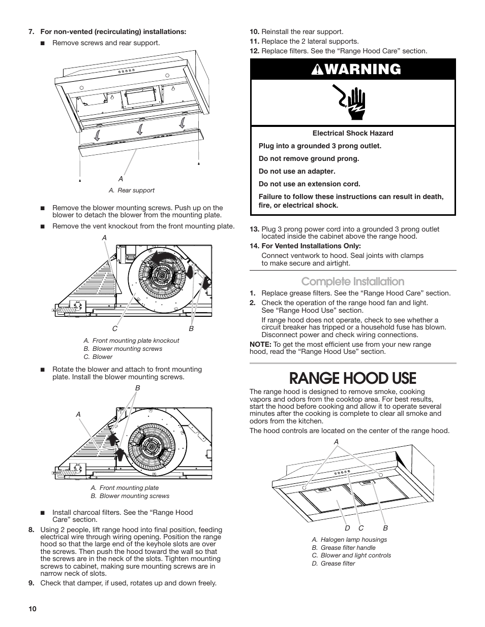 Range Hood Use Warning Complete Installation Maytag Uxt5536aas 2 Prong Vs 3 Outlets Manuel Dutilisation Page 10 28