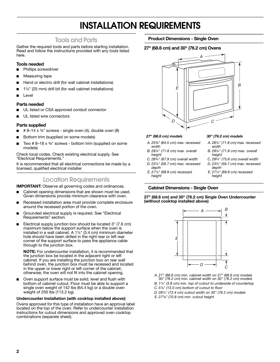 Installation Requirements Tools And Parts Location Maytag Double Oven Wiring Diagram Mew5530ddw Manuel Dutilisation Page 2 16