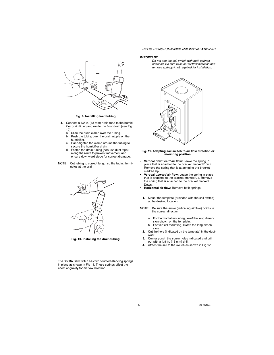 installing the sail switch, adapting switch to air flow direction | honeywell  he220 manuel d'utilisation | page 5 / 24